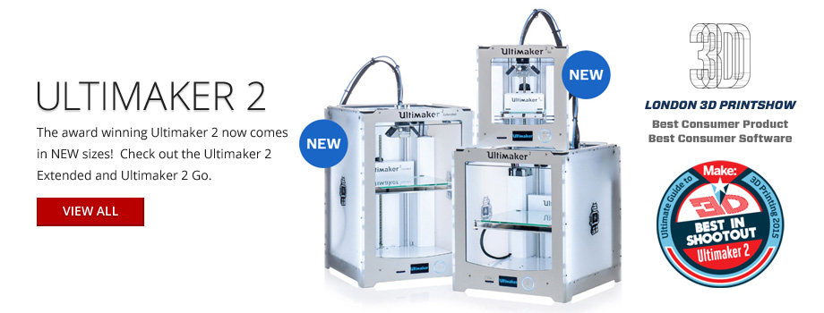 The award-winning Ultimaker 2 now comes in new sizes! Check out the Ultimaker 2 Extended and Ultimaker 2 Go.