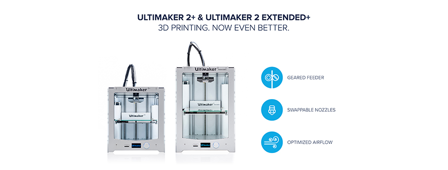 Our most advanced 3D printer just got even better. The Utimaker 2+ features swappable nozzles, geared feeder, and improved cooling.